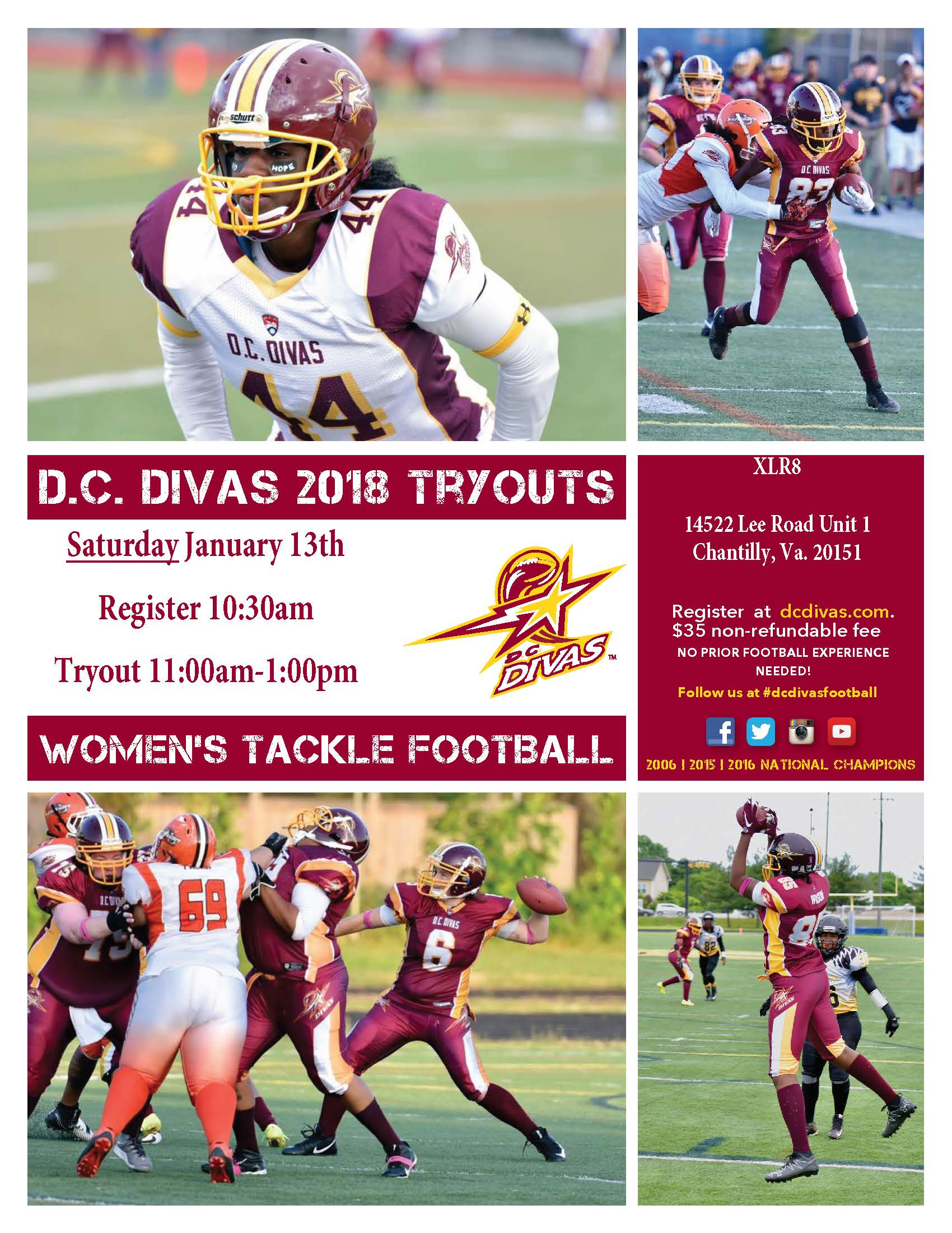 D.C. Divas 2018 Tryout Dates and Locations